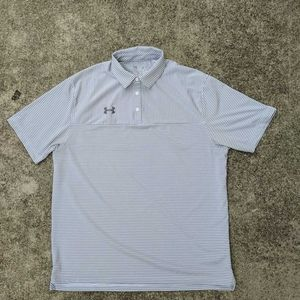 Under Armour Heat Gear Mens Polo Shirt Gray White